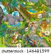 Cartoon zoo - amusement park - illustration for the children - stock
