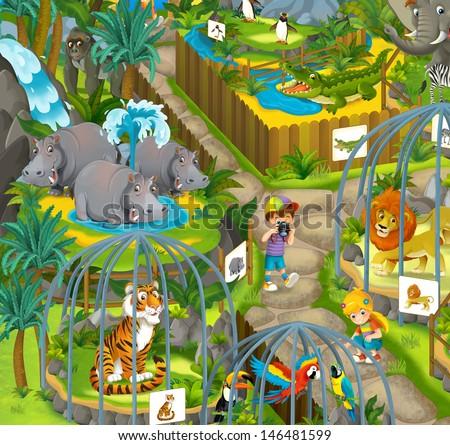 Cartoon zoo - amusement park - illustration for the children - stock photo