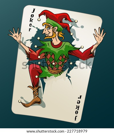 Cartooned Joker Jumping Out of Playing Card on Blue Green Background. - stock photo