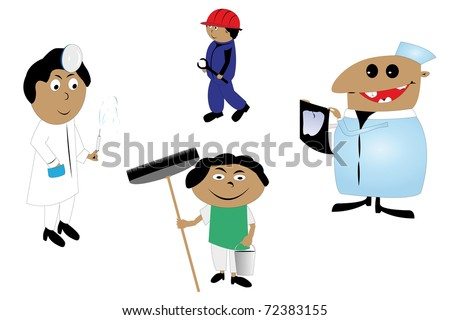 cartoons of people of different professions - stock photo