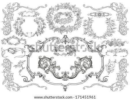 Cartouches set illustration - stock photo