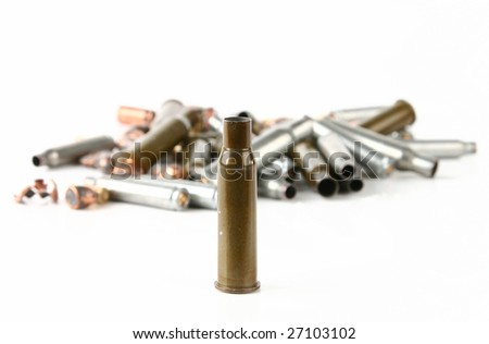 cartridge case front view and cartridge case background - stock photo