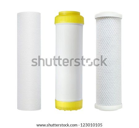 Cartridge for water filter isolated on white background - stock photo