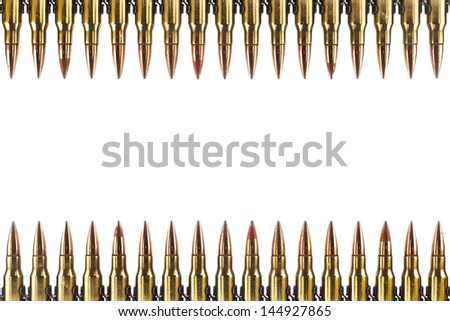 Cartridge 7.62 mm caliber, machine gun bullet isolated.