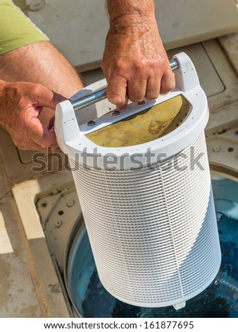 Cartridge pool filter - stock photo
