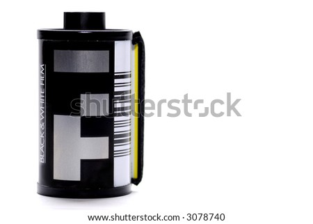 cartridge roll of 35 mm photographic film isolated on white - stock photo