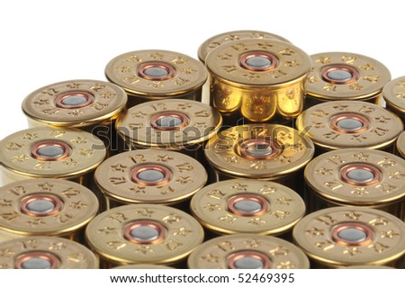 cartridge with gunpowder isolated - stock photo