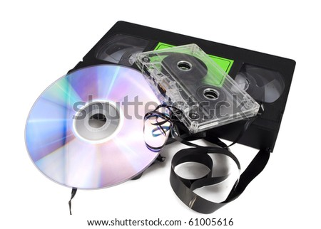 Cartridges and a disk are isolated on a white background