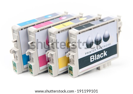 Cartridges for colour inkjet printer isolated on white - stock photo