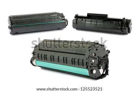 Cartridges for laser printer isolated on white background - stock photo
