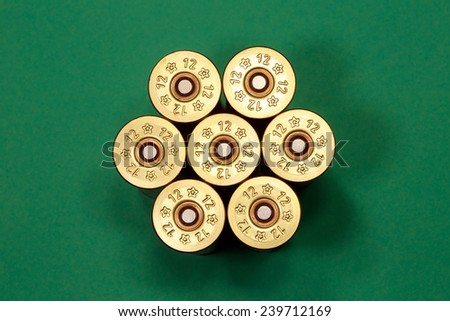 Cartridges of 12th caliber for a hunting rifle . Firearms ammunition - stock photo