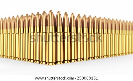 Cartridges on white background , Ammunition , Gun control - stock photo