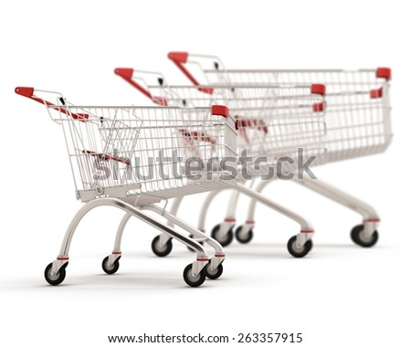 Carts for shopping of the different sizes built in a row isolated on white background. 3d illustration. - stock photo