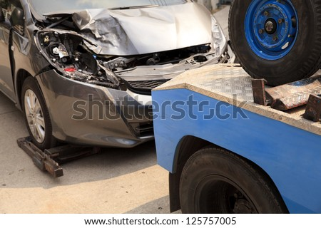 Carts, forklifts Car accident - stock photo