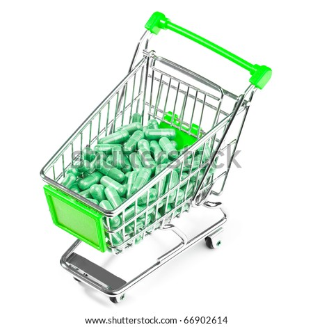 Carts on a white background filled with pills