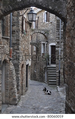 Caruggio of Genoa narrow streets in the old town - stock photo