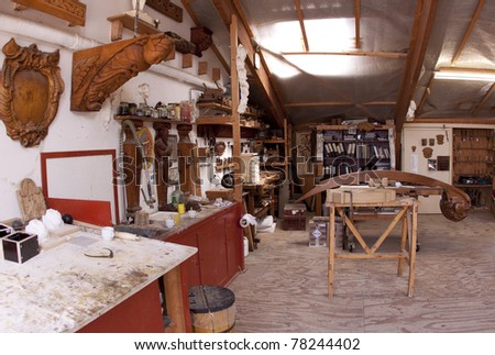 Carve and sculpture studio at the Batavia Wharf - stock photo