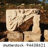 Carved Angel of Victory on a monument in the ancient ruins of Ephesus, Turkey - stock photo
