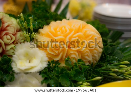 carved Cantaloupe - stock photo