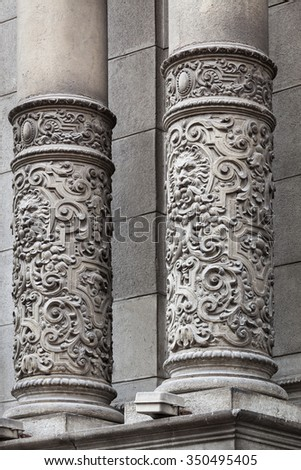 carved columns beautiful old building