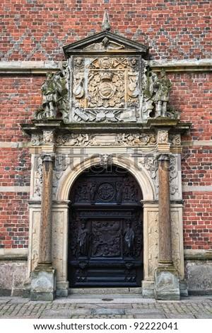 Carved doors  in Frederiksborg castle . - stock photo