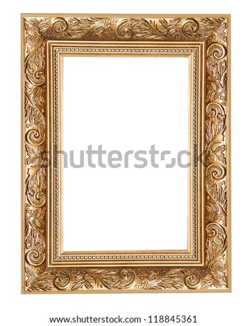 carved frame isolated on white background - stock photo