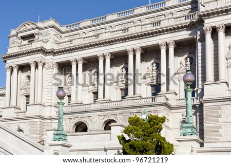 Carved front of Library of Congress Washington DC - stock photo