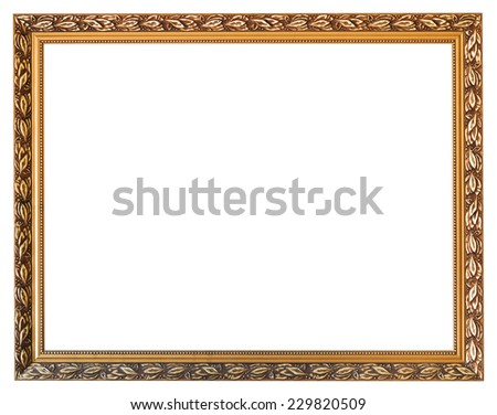 carved golden wooden picture frame with cut out canvas isolated on white background