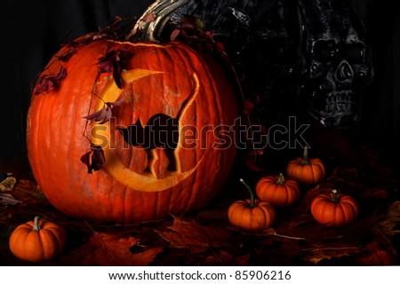 Carved Halloween Pumpkins - stock photo