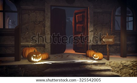 Carved Halloween pumpkins and Welcome sign on the porch of the gloomy house at night. Realistic 3D illustration was done from my own 3D rendering file. - stock photo