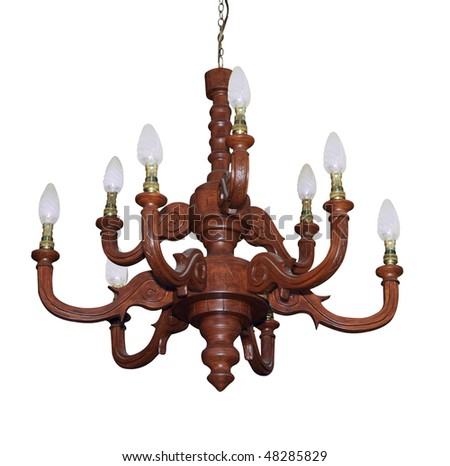 Carved Macrocarpa Chandelier isolated with clipping path - stock photo