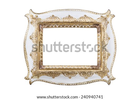 Carved picture frame isolated over white with clipping path. - stock photo