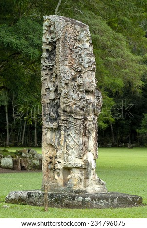 Carved pillar in Copan - ancient city of Maya. UNESCO World Heritage site. Honduras