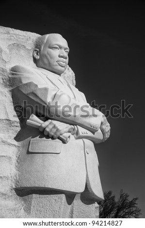 Carved stone statue of Martin Luther King Jr. at the National Mall in West Potomac, Washing ton DC. - stock photo