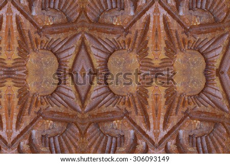 Carved wood wall close