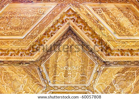 Carved wooden ceiling of an asian summerhouse - stock photo
