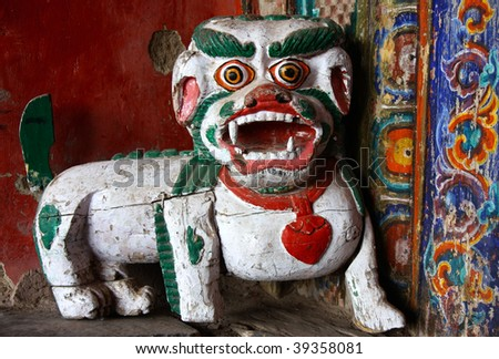 carved wooden dog - stock photo