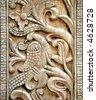 Carved wooden door detail of bird - stock photo