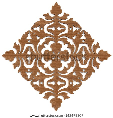 carved wooden pattern on white background