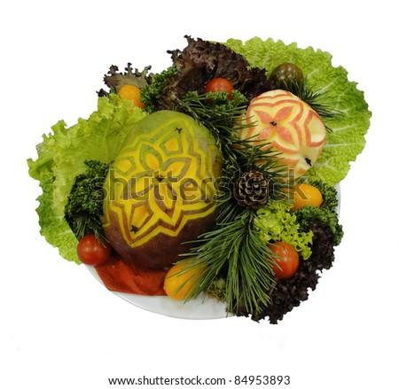 carving fruit bouquet - stock photo