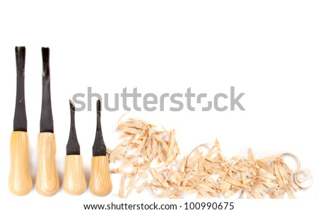 Carving hand tools or chisels on a white background - stock photo