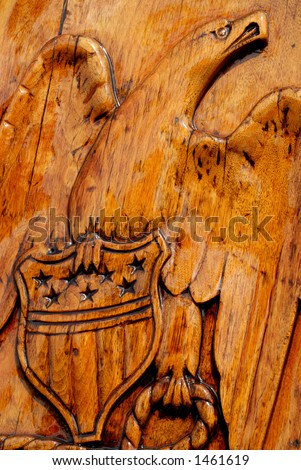 Carving of eagle aboard the USS Constitution - stock photo