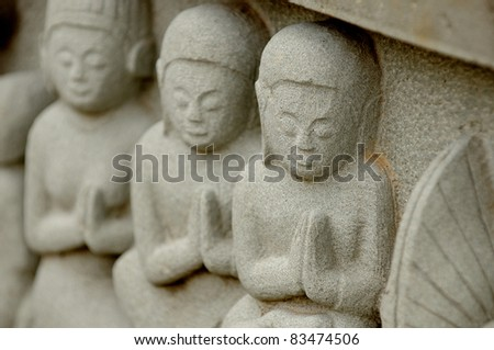 Carving on temple wall , Thailand - stock photo