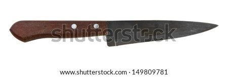 Carving steel knife isolated on white