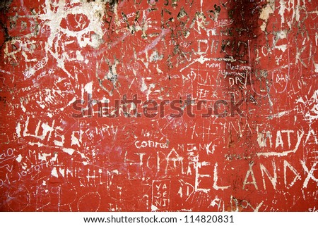 Carvings on a red wall forming a background - stock photo