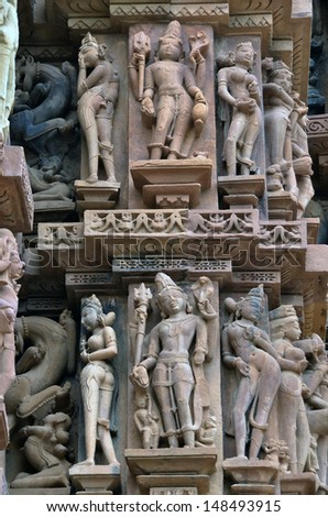 Carvings on temple walls at Khajuraho AD 930-950 - stock photo