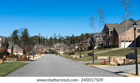 Cary, NC. Street at fall time. - stock photo