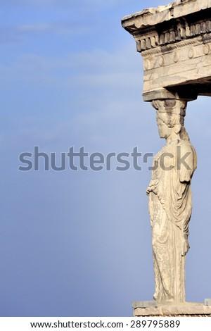 Caryatid at Acropolis, Athens, Greece - stock photo