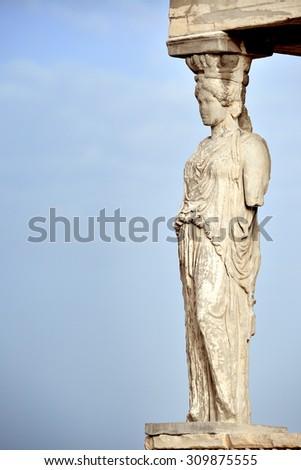 Caryatid at Acropolis of Athens, Greece - stock photo