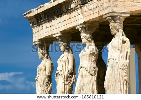 Caryatides, Acropolis of Athens, Greece - stock photo